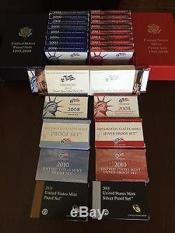Proof Silver & Clad sets 1999 to 2011 all boxes and Coa from the mint