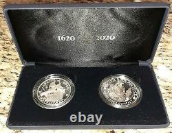 ROYAL MINT 400th Anniversary Mayflower Voyage 2pc UK Silver Set Proof Coin Medal