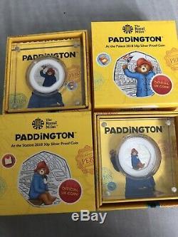 Set Both Paddington Bear 50p Coins Silver Proof Palace Station