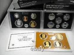 Silver US Proof Set Lot (21) Different Dates from 1999-2019 Complete w COA AJ509