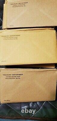 Silver proof set lot full run 1955-1964 unopened US Proof sets. 10 sets. Lot1
