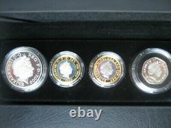 UK 2009 Piedfort Silver Proof 4 Coin Set £5 2x £2 Pounds Darwin & Burns 50 Pence